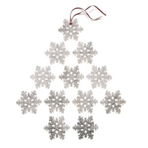 Holiday Lane Set Of 12 Clear Snowflake Ornament